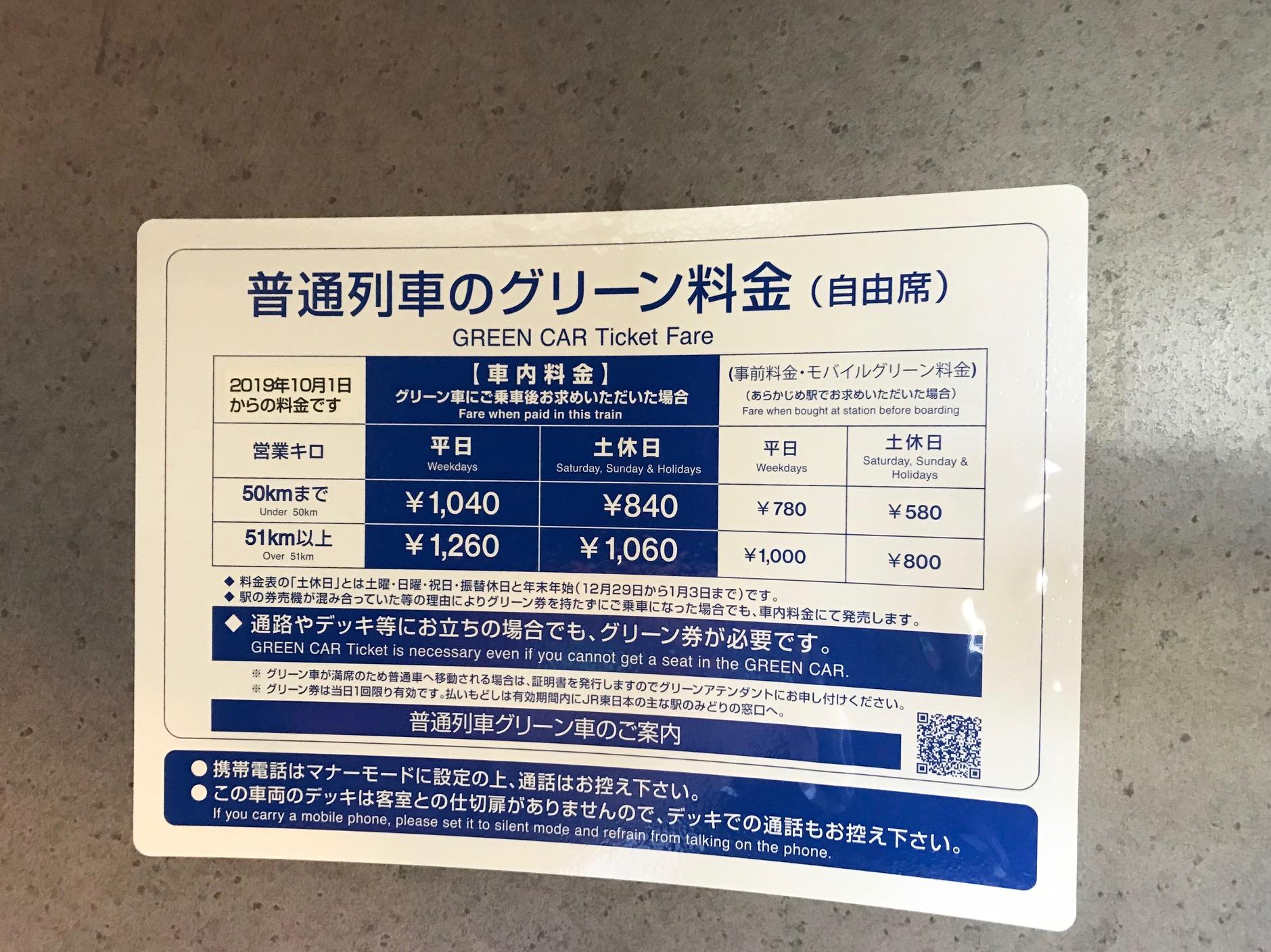 普通列車グリーン車の料金表